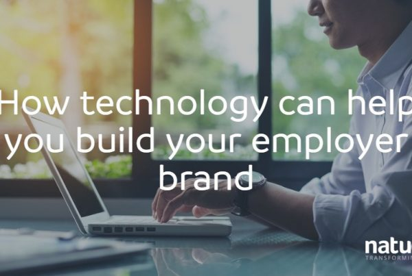 Young business man using technology to build his employer brand