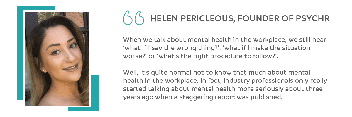 Helen Pericleous, PsycHR quote on employee wellbeing