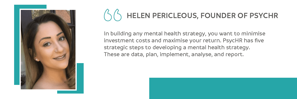 Helen Pericleous, PsycHR quote on mental health strategy